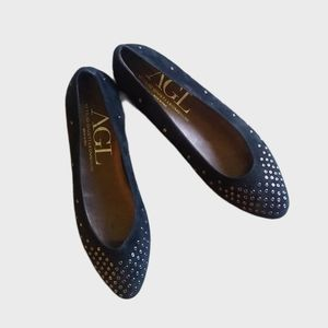 {AGL} Black Suede Studded Pointed Toe Flats